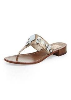 Tory Burch Ginevra Jeweled Thong Sandal, Platinum
