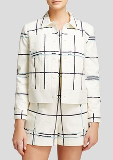 Tory Burch Grid Print Canvas Jacket