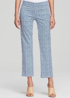Tory Burch Grid Print Cropped Pants
