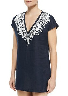 Tory Burch Issy Scallop-Trim Embroidered Tunic