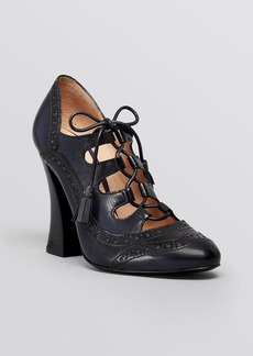Tory Burch Lace Up Ghillie Oxford Pumps - Astrid High Heel