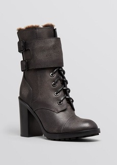 Tory Burch Lace Up Platform Booties - Broome Shearling