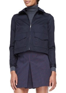 Tory Burch Lane Back-Pleated Bifabric Jacket