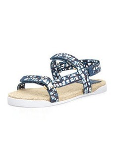 Tory Burch Leather Espadrille Bumper Sandal, Tribal Blue