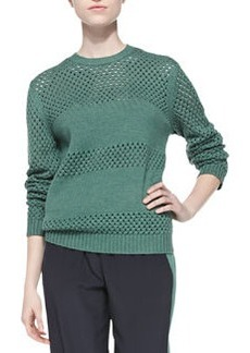 Tory Burch Leona Open-Stitch Paneled Sweater