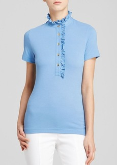 Tory Burch Lidia Ruffle Trim Polo Shirt