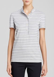 Tory Burch Lidia Ruffle Trim Striped Polo
