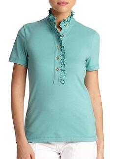 Tory Burch Lidia Ruffled Polo Shirt