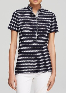 Tory Burch Lidia Textured Stripe Polo Shirt