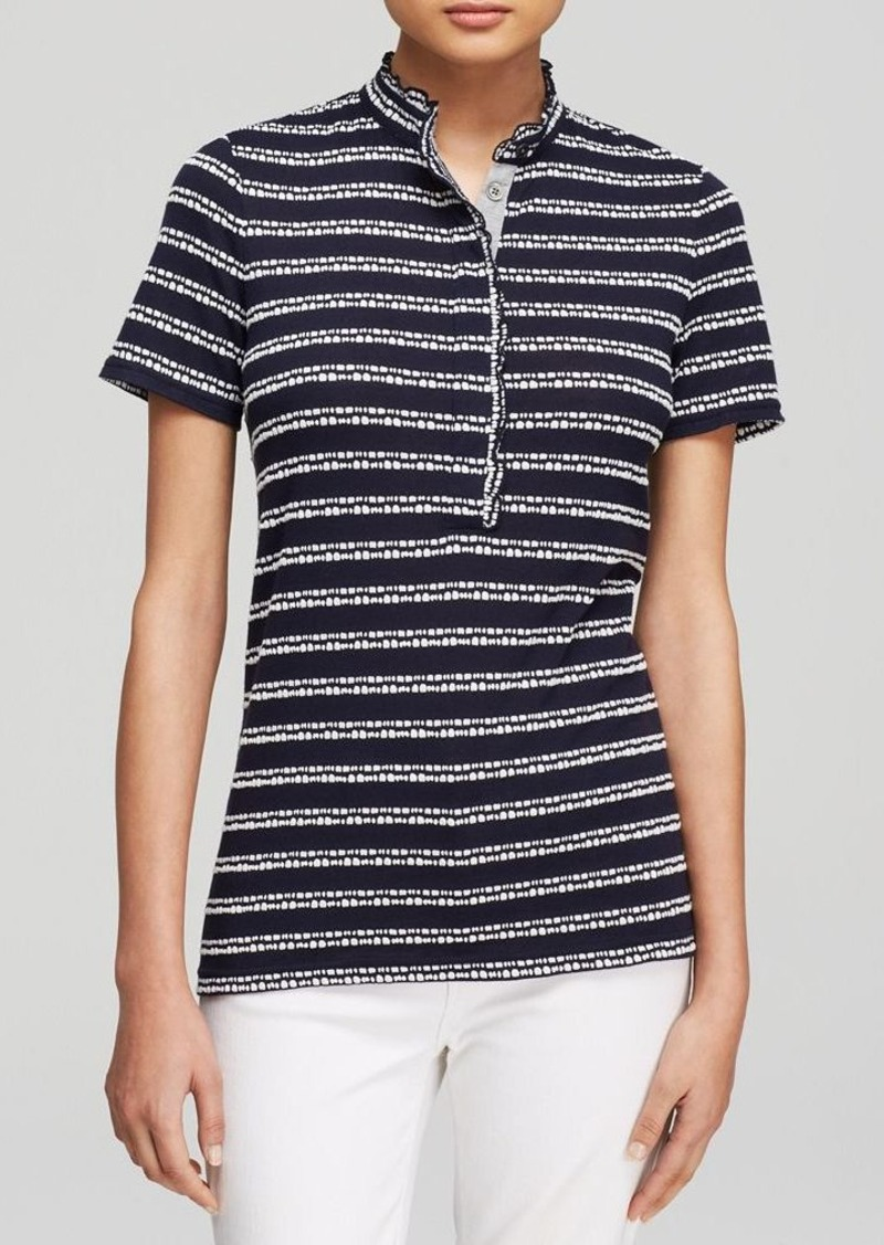 Tory Burch Tory Burch Lidia Textured Stripe Polo Shirt