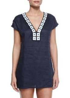 Tory Burch Linen Embroidered-Trim Tunic Coverup