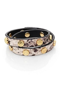 Tory Burch Logo Stud Snake-Embossed Leather Double-Wrap Bracelet