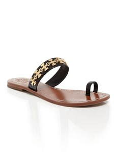 Tory Burch Logo Toe Ring Flat Sandals - Val