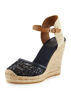Tory Burch Lucia Lace Wedge Espadrille, Tory Navy