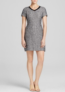 Tory Burch Marbled Tweed V Neck Dress