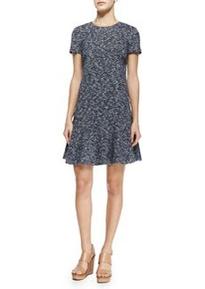 Tory Burch Margarite Short-Sleeve Flounce Dress, Navy