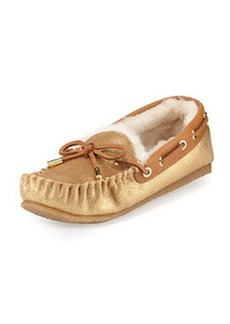 Tory Burch Maxwell Shearling-Lined Moccasin, Gold/Tan
