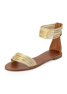 Tory Burch Mignon Rings Strappy Flat Ankle-wrap Sandal, Gold