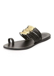 Tory Burch Mignon Rings Strappy Flat Sandal, Black