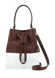 Tory Burch Mini Colorblock Leather Bucket Bag, Barrel/White