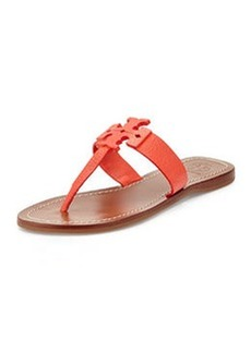 Tory Burch Moore Leather Thong Sandal, Poppy Coral