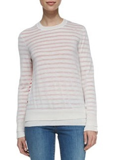 Tory Burch Naia Crewneck Striped Wool Sweater