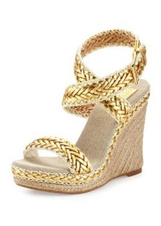 Tory Burch Paloma Woven Metallic Wedge Sandal, Platinum