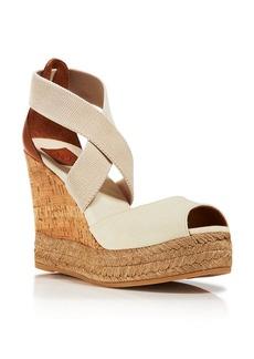 Tory Burch Peep Toe Canvas Platform Sandals - Cork Wedge Heel