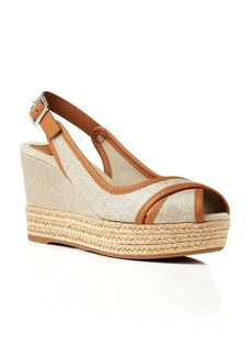 Tory Burch Peep Toe Platform Slingback Wedge Sandals - Majorca