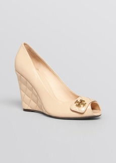 Tory Burch Peep Toe Wedge Pumps - Leila Quilted