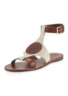 Tory Burch Perforated Logo Flat Sandal, Natural/Almond