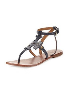 Tory Burch Phoebe Leather Flat Sandal, Tory Navy
