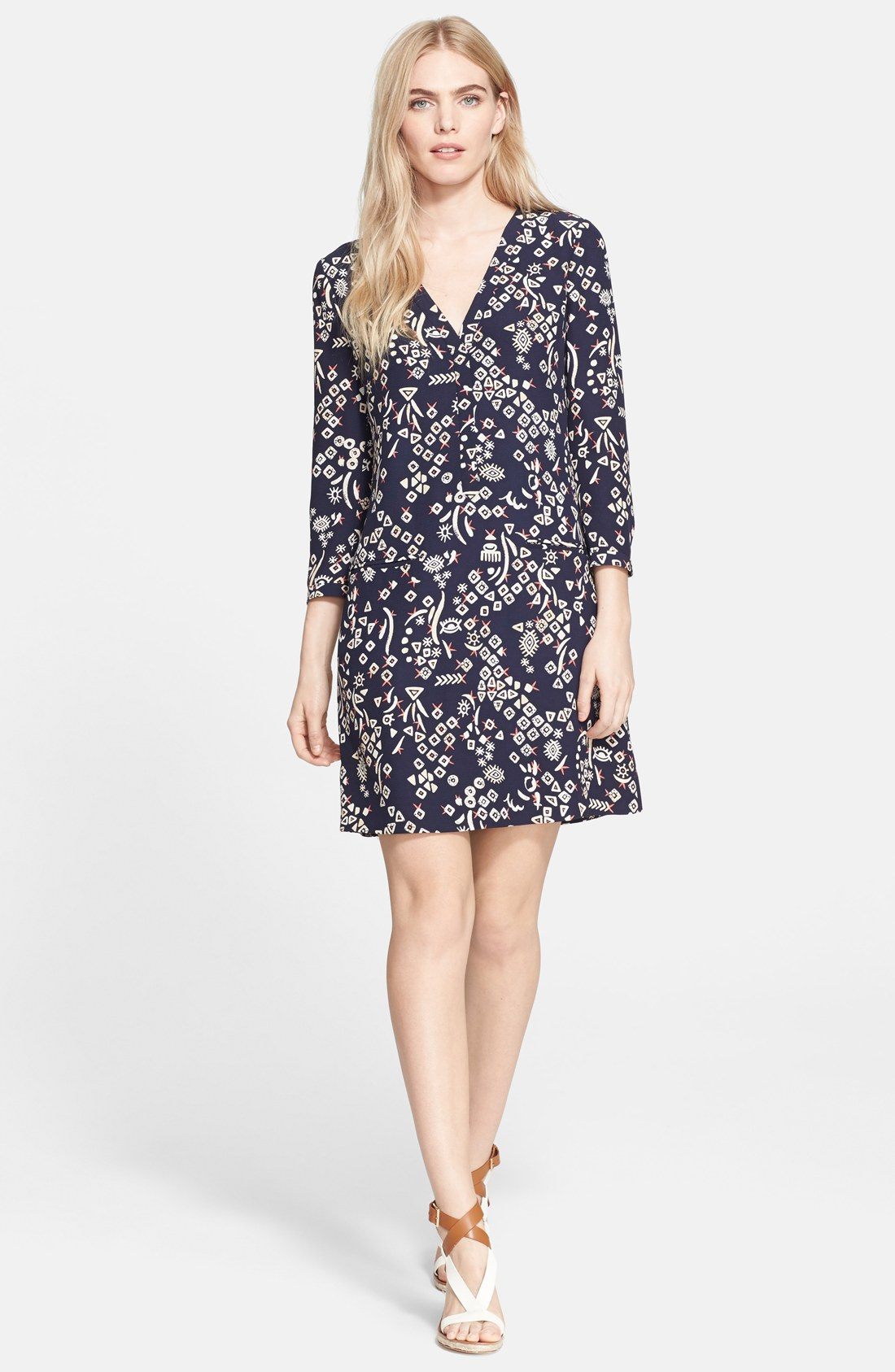 tory burch print hammered silk a line dress shop it to me all sales in one place shop it to me. Black Bedroom Furniture Sets. Home Design Ideas
