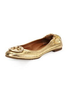 Tory Burch Reva Crackled Metallic Ballerina Flat, Gold