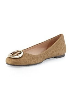 Tory Burch Reva Flocked Ballerina Flat, Bronze