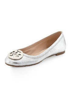 Tory Burch Reva Metallic Ballerina Flat, Palladium (Nickel)