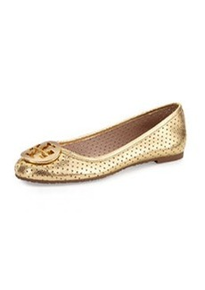 Tory Burch Reva Metallic Perforated Flat, Golden