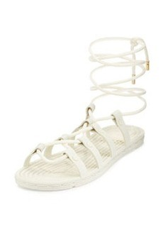 Tory Burch Rope Lace-Up Rubber Sandal, Ivory