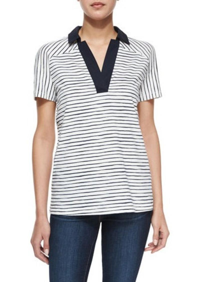 Tory Burch Tory Burch Short Sleeve Striped Polo Shirt
