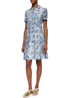 Tory Burch Short-Sleeve Textured Jacquard Shirtdress