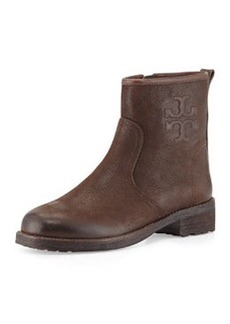 Tory Burch Simone Leather Logo Bootie, Chocolate