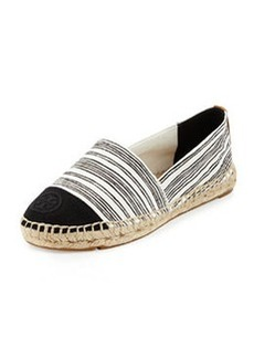 Tory Burch Striped Canvas Espadrille Flat