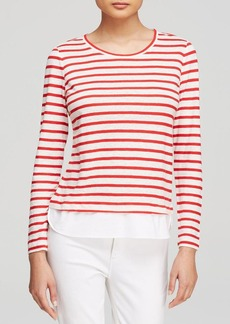 Tory Burch Striped Linen Knit Pullover