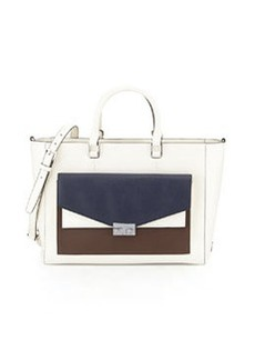 Tory Burch T-Lock Colorblock East-West Tote Bag, Ivory/Navy/Raisin