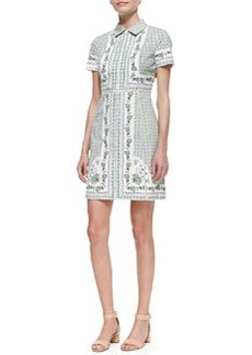 Tory Burch Talia Floral-Print Point-Collar Shirtdress