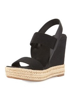 Tory Burch Two-Band Canvas Wedge Sandal, Black