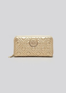 Tory Burch Wallet - Marion Quilted Metallic Zip Continental