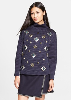 Tory Burch 'Wendy' Embellished Quilted Jacquard Pullover