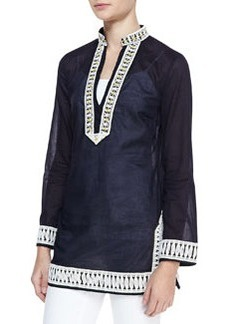 Tory Embroidered-Trim Tunic   Tory Embroidered-Trim Tunic