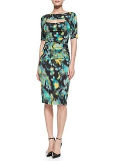 Tracy Reese 1/2-Sleeve Floral Warp-Print Peek-A-Boo Sheath Dress